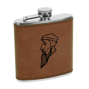 John Calvin Leatherette Flask Brown