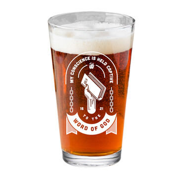 Held Captive to the Word of God Pint Glass
