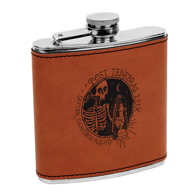 Post Tenebras Lux Leatherette Flask Brown