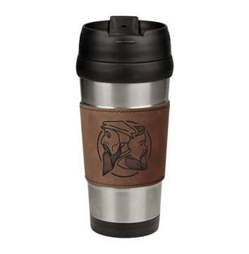 Logo Leatherette Stainless Steel Travel Mug