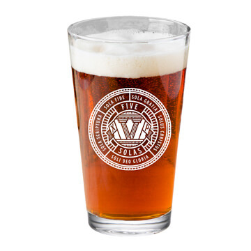 The Five Solas Pint Glass