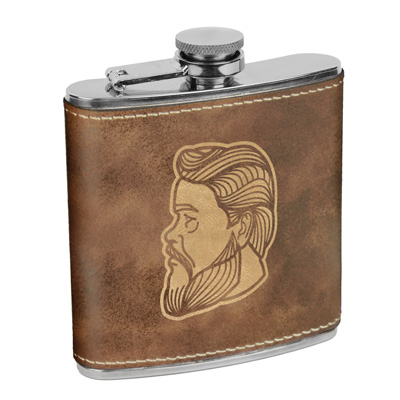 Charles Spurgeon Leatherette Flask Brown