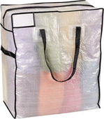 "HouseHold Essentials Mighty Stor Tote Semi Clear w/ Black Trim-(22"" x 26"" x 12"")-M"