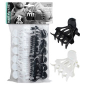 Hair Ware Pro Roller Clamps-Black/White-12 ct