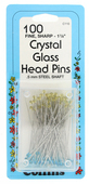 "Collins Glass Head Pins - Crystal (1 7/8"" - 100ct.)"