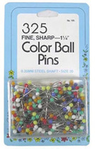 Collins Straight Pins With Color Ball Heads (Size 20 - 1¼ 325ct.)