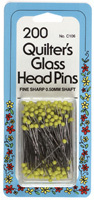 "Collins Fine Quilters Glass Head Straight Pins (Yellow 1 3/8"" -  200 ct.)"
