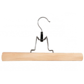 Flat Clamped Wooden Trouser Hanger- Natural - 12""