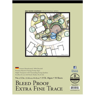 """Bee Paper Co. Bleed-Proof Extra Fine Trace Paper 9"""" x 12"""" - 50 Sheet Pad"""