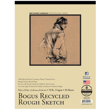 "Bee Paper Co.  Bogus Recycled Rough Sketch Paper 9"" x 12"" - 50 Sheet Pad"