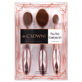 Crown Pro Rose Gold Full Face Contour Brush Set - 3 pc