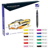 Prismacolor Premier Art Markers, Fine & Chisel Tip, Primary & Secondary Colors - 12ct