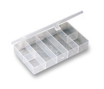 7 Compartment Reclosable Clear Poly Storage Tray