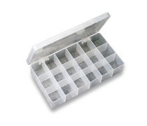 18 Compartment Reclosable Clear Poly Storage Tray