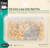 Dritz Nickel Plated Steel Extra long Size 28 Yellow Ballhead Straight Pins - 250 ct.