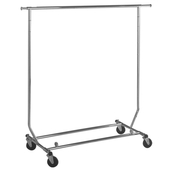 Collapsible Chrome Rolling Rack-Round Tubing
