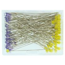 IBC Glass Head Pins - Lavender & Yellow - Extra Long