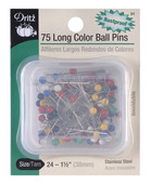 Dritz Stainless Steel Rustproof Multi Colored Ballhead Straight Pins-Size 24  -1 1/2""