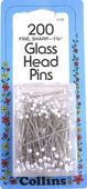 "Collins 1 3/8"" Glass Head Pins-WHITE 1 3/8"""