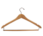 Curved Wooden Suit Hanger with Strut - Natural - 17""