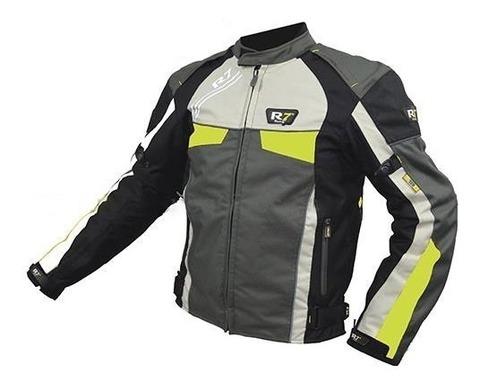Chamarra Deportiva Con Protecciones R7-211 Textil Verde T/L