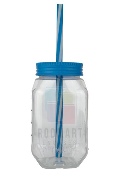 DRINKING  CILINDRO 14 X 7.5 X 7 CM TRASPARENTE CON TAPA POPOTE AZUL CIELO