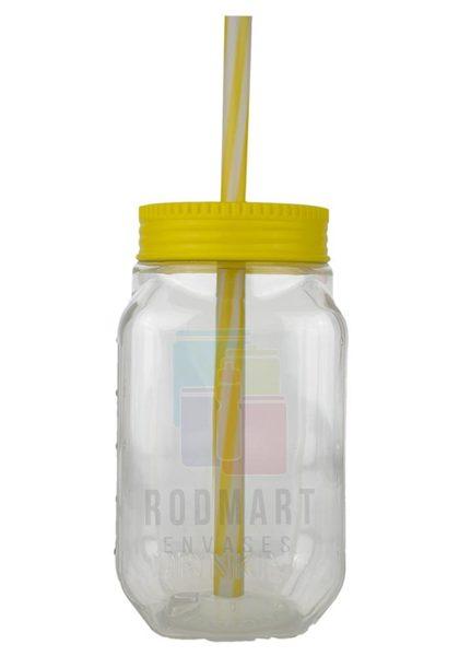 DRINKING  CILINDRO 14 X 7.5 X 7 CM TRASPARENTE CON TAPA POPOTE AMARILLO