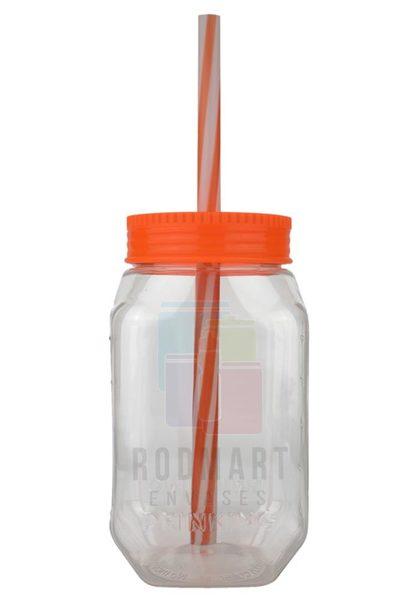 DRINKING  CILINDRO 14 X 7.5 X 7 CM TRASPARENTE CON TAPA POPOTE NARANJA