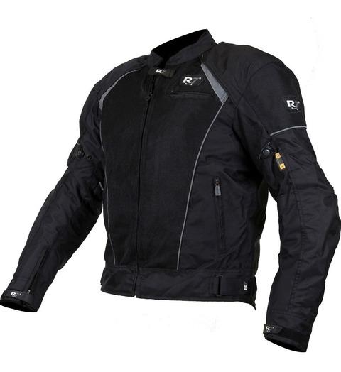 Chamarra Deportiva Con Protecciones R7-302 Textil Negra T/L