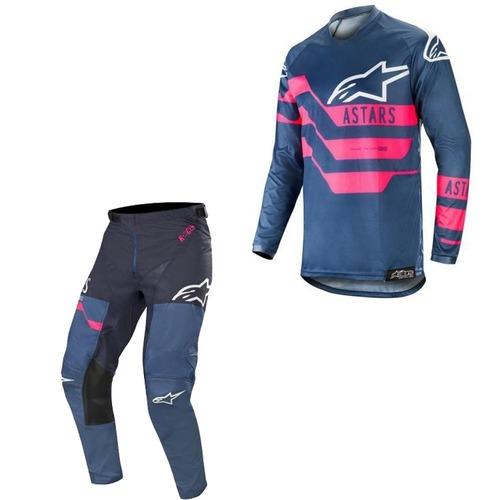 Kit Jersey Pant Alpinestars Racer Flagship Azul Rosa Mx19 28-S
