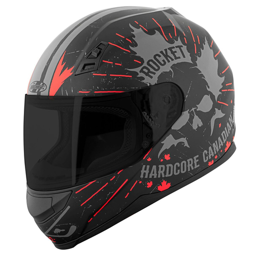 CASCO JOE ROCKET RKT 7 HARDCORE CANADIAN NEGRO CON ROJO T/S