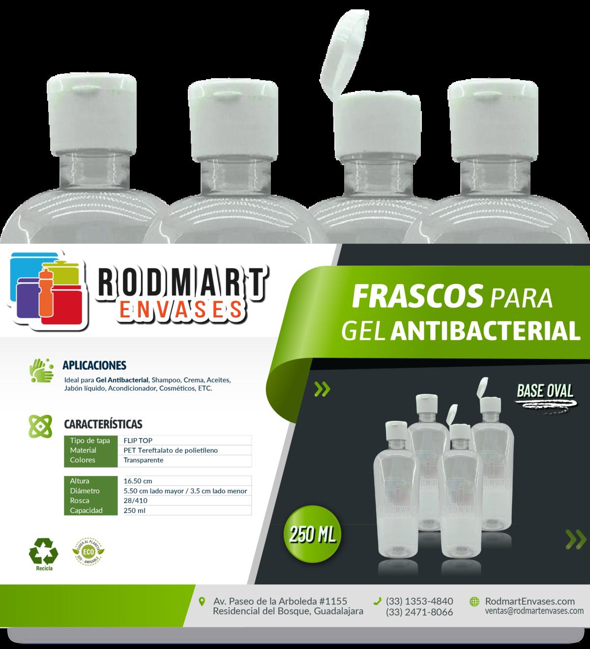 Frasco / Botella 250ml para Gel Antibacterial