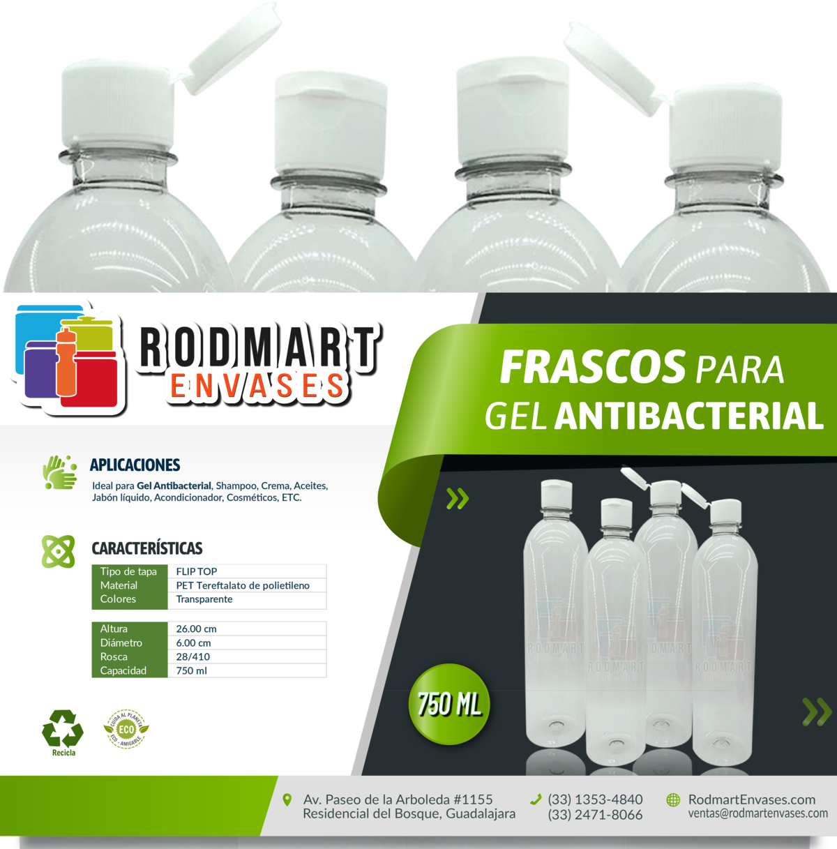 Frasco / Botella 750ml para Gel Antibacterial