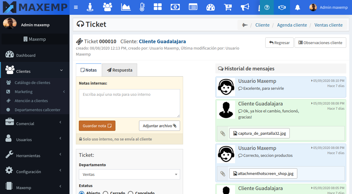 Ticket de soporte detalles maxemp