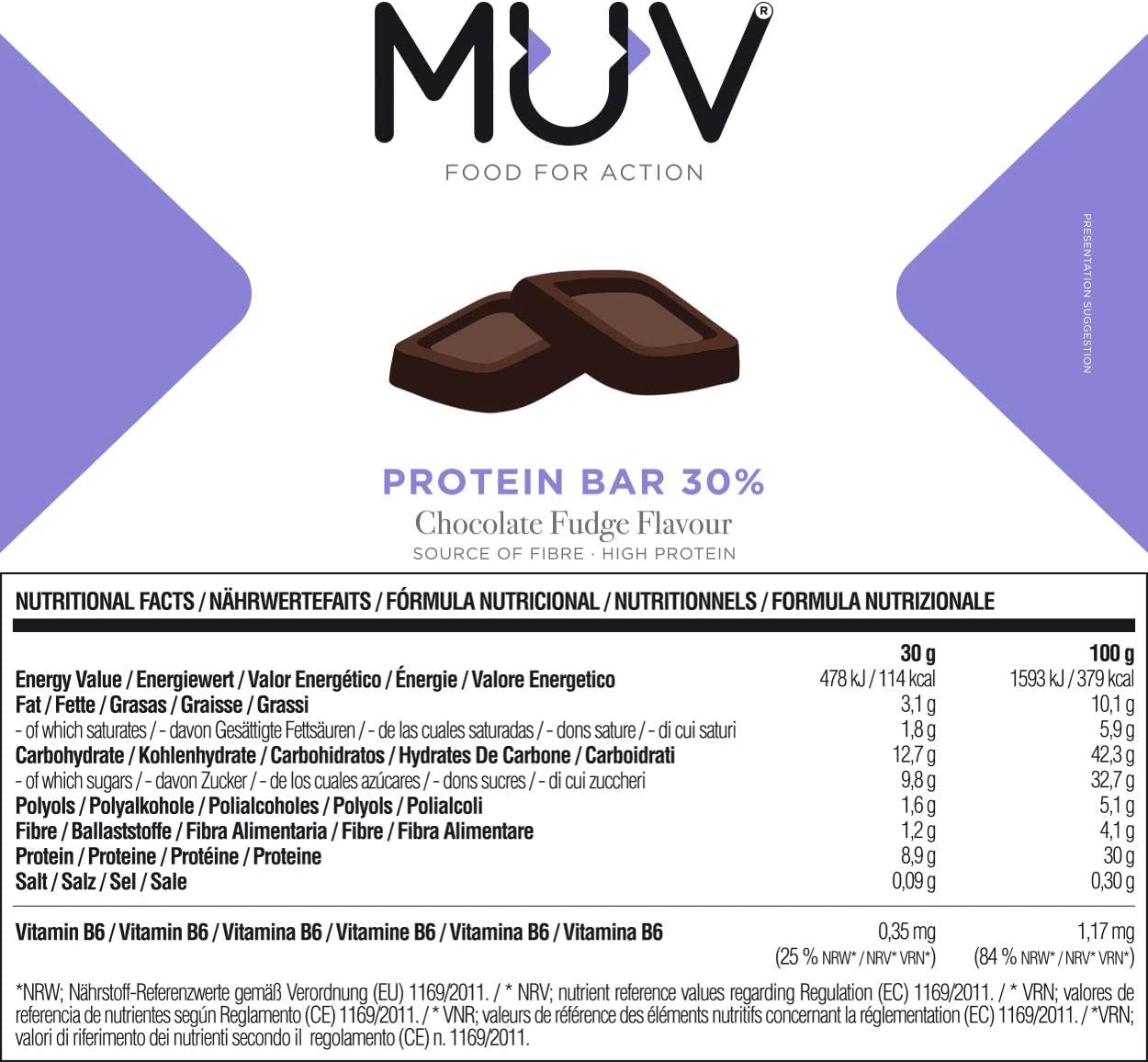 Muv-Food-For-Action-Protein-Bar-Chocolate-Fudge-Flavour-12-x-30-g thumbnail 5