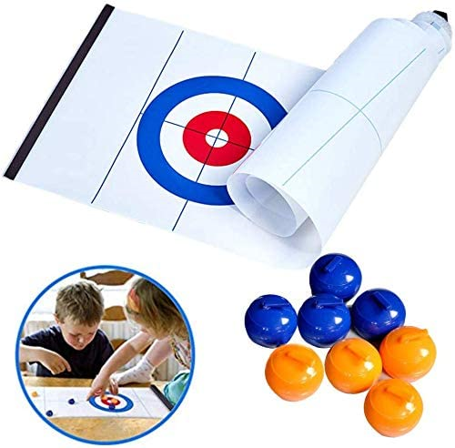 YouTai-Tabletop-Curling-Game-Mini-Compact-Curling-Board-Game-Set-with-8-Pucks thumbnail 1