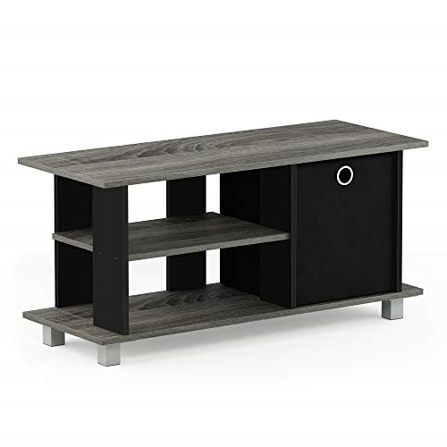 furinno simplistic entertainment tv stand with storage bin, french oak