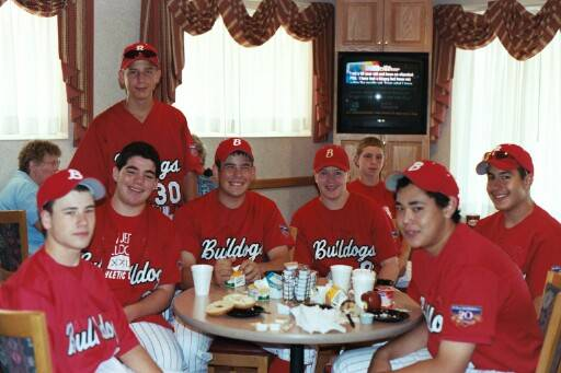 (L-R) Adam, Vinny, Jonathan, Nick, Bobby, Tim, Willie, and Orlando having a 6:00 a.m. breakfast before a 7:00 a.m. game.