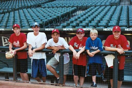 Tim, Matt, Jonathan, Matt, Kevin, & Bobby want a better look at the field from the top of the dugout steps.