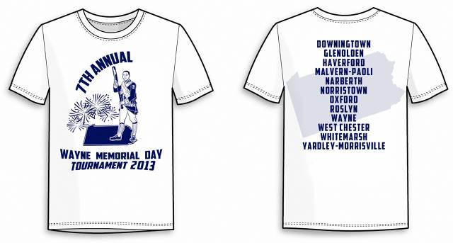 T-shirts for the Wayne 2013 Memorial Day Tournament are available for pre-order for $10 each.