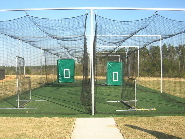 Batting cages for each field for the Home & Visitors
