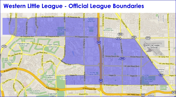 North Las Vegas Map Boundaries.Western Little League Las Vegas Nv Powered By Leaguelineup Com