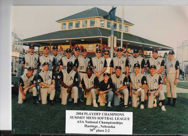 2004 Playoff Champs Photo taken at ASA Class C Nationals in Hastings, Nebraska