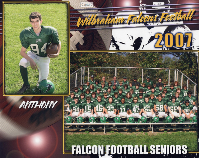 2ab91f037 Anthony was the Captain of the Football Team his Senior year and graduated  Minnechaug in 2013.