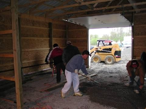 After the shell of the building was in place, it was time to start working on the floors.