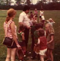 1975.  Tony Reina conducts one of the first practices held by the Pasadena Clinic League. 