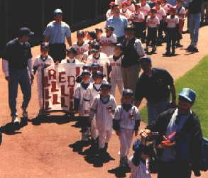 1999.  The Pasadena Clinic League participates in the Little League Appreciation Day at Oriole Park.