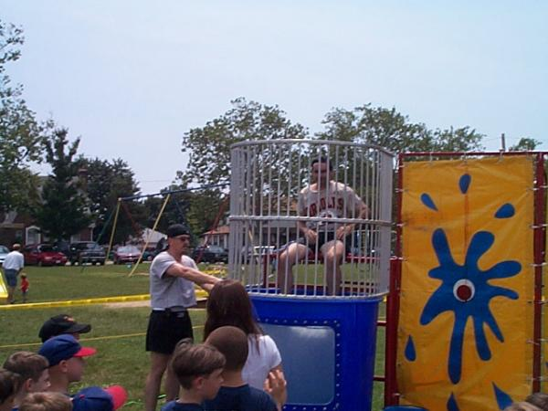 2000.  Dave Degreenia prepares to be dunked at the Pasadena Clinic League closing ceremony at the Meadow Road fields.