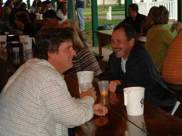 2003.  PBC coaches John Hodges and Dennis Haney at the Club's first Bull Roast at Kurtz's Beach.