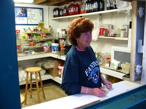 "2003.  Carole Caines - ""Havenwood Lady"" - does her thing at the concession stand."